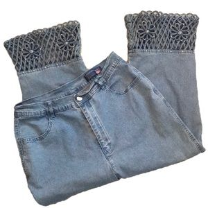 """LAFEIPIZA ""Jeans With Open Work Hem."